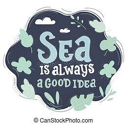 Vector illustration of Travel Sea nautical design. Hand drawn Words on dark background.