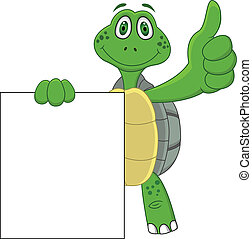 Vector Illustration Of Turtle cartoon with thumb up