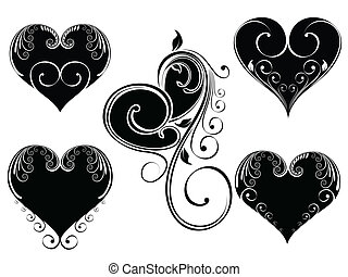 Vector illustration of vintage design heart shape decorated with floral style in black and white color on isloated background for Valentine Day.