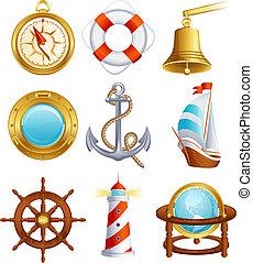 Vector illustration - Sailing icon set