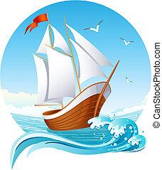 Vector illustration - sailing ship emblem