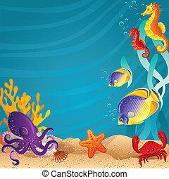 Vector illustration - Sea bottom background