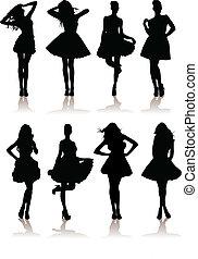 vector illustration set of various beautiful model girls in dress. Lady girls