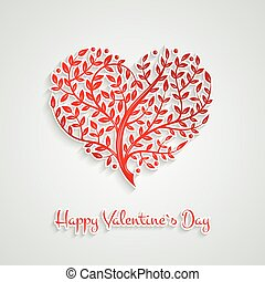 Vector illustration with branch heart. Tattoo style. For Valentine`s Day. Lovely ornate design.