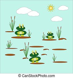 Vector illustration with two cute funny frogs sitting on tussocks in a pond, among reeds against the background of the sky and the sun. Flat design