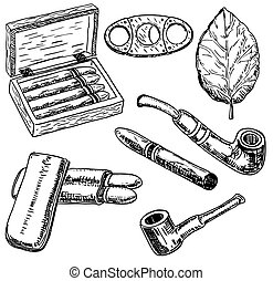 Vector ink hand drawn style tobacco set