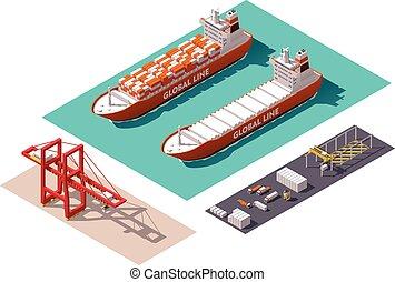 Isometric cargo port machines and equipment