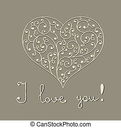 """vector lacy heart with hand written text """"I love you"""""""