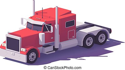 Vector low poly american classic truck