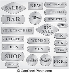vector metal plates set with text