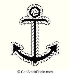 Vector Nautical Anchor Logo. Icon. Maritime. Sea Ocean Boat Illustration Symbol