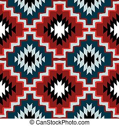 Vector seamless ethnic pattern with american indian motifs in multiple colors. Colorful aztec background. Textile print with navajo tribal ornament. Native american art.