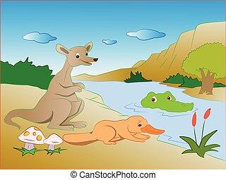 Vector illustration of crocodile sneaking on kangaroo and platypus on lakeside.