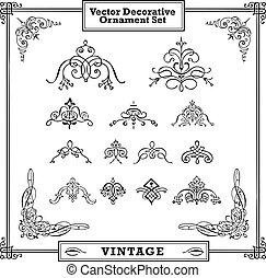 Vector Ornate Swirl Ornament Set