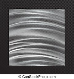 Vector realistic transparent stretched film on a translucent dark background.Polyethylene tape with stretch marks in the form of an arc. Cellophane mocap.Clip-art for decoration
