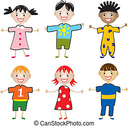 vector rows of young children