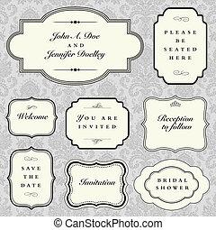 Set of vector ornate frames with sample text. Perfect as invitation or announcement. Background pattern is included as seamless swatch. All pieces are separate. Easy to change colors and edit.