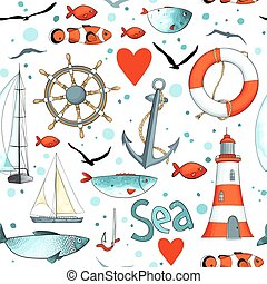 Vector sea pattern with nautical elements.