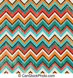 Vector Seamless Geometric Zigzag Background with Grunge Texture
