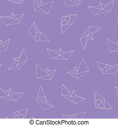 Vector seamless pattern with origami boat - colorful design. Cute stylish background