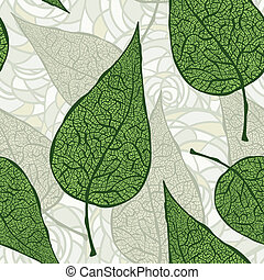 vector background with seamless hand drawn green leafs
