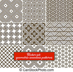 Vector set: 9 geometric seamless patterns. Can be used for wallpaper, web page background, as fabric pattern. EPS 10.