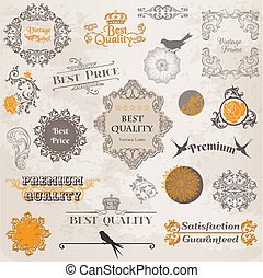 Vector Set: Calligraphic Design Elements and Page Decoration, Vintage Label collection with Flowers