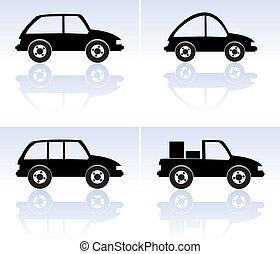 vector set of black cars