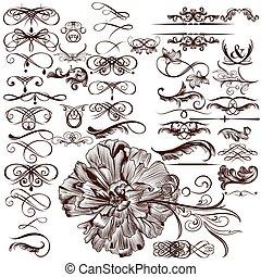 Vector set of calligraphic flourish