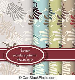 Vector set of fern seamless patterns