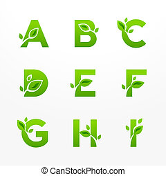 Vector set of green eco letters logo with leaves. Ecological font from A to I.