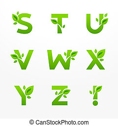 Vector set of green eco letters logo with leaves. Ecological font from S to Z.