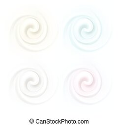 Vector Set of Multicolored Swirl Cream Texture Backgrounds Isolated
