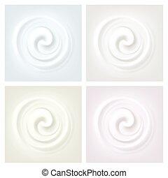 Vector Set of Multicolored Swirl Cream Texture Backgrounds
