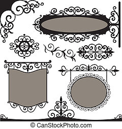 Vector set: wrought iron vintage signs and elements for design