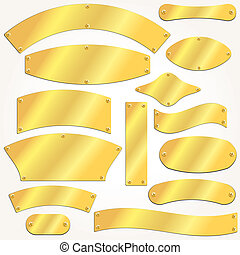 Vector signboards plates gold set