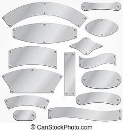Vector signboards plates silver set