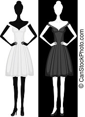 Vector silhouette of girl in beautiful dress