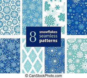 Vector Snowflakes Hand Drawn 8 Set Seamless Pattern
