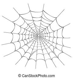 Creepy spider web over white background. Vector illustration saved as EPS AI 8, no effects, easy printing.