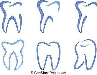 set of abstract teeth, vector illustration
