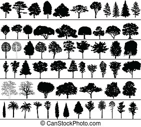 Set of black silhouettes of vector trees