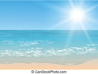 Beach and tropical sea with sun, vector.