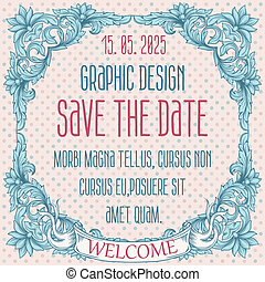 Vector vintage border frame engraving with retro ornament pattern in antique rococo style