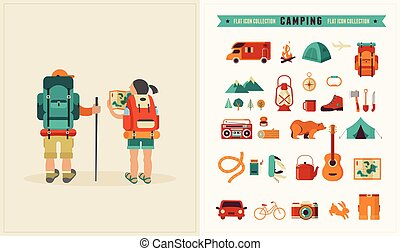 Vector vintage poster with couple of backpackers and set of icons