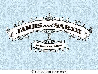 Vector Vintage Wedding Frame and Background