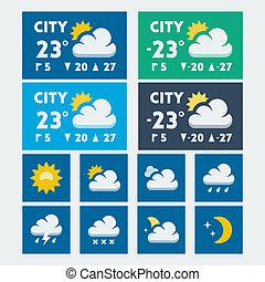 Vector weather widget, flat style