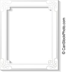 Vector white decorative frame on white background. Decoration rectangle frame for your photo. Decorative border.