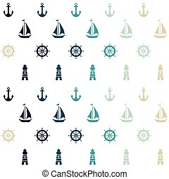 Vector white nautical elements seamless pattern background