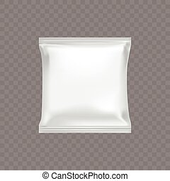 Vector white square plastic packing for food snacks, chip, biscuit, candy.